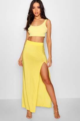 boohoo Slinky Side Split Maxi Skirt