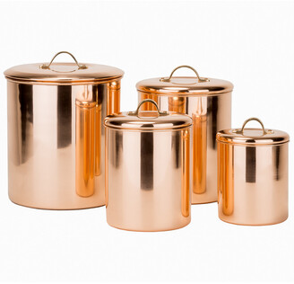 Old Dutch 4Pc Polished Copper Canister Set