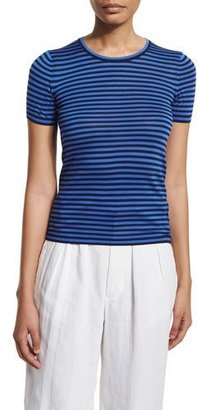 Ralph Lauren Collection Short-Sleeve Striped Top, Dark Navy/French Blue $590 thestylecure.com