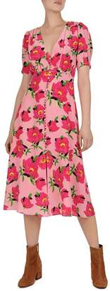 The Kooples Floral-Print Silk Midi Dress