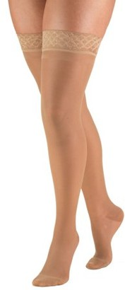 BEIGE Truform Women's Stockings, Thigh High, Sheer: 15-20 mmHg, Beige, Large