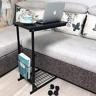 micoe Height Adjustable with wheels Sofa side table slide under adjustable Console table with storage Black for Entryway Hallway