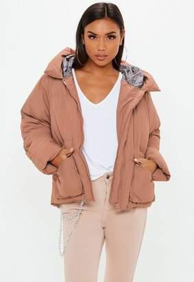 Missguided Mocha Oversized Hooded Ultimate Puffer Jacket