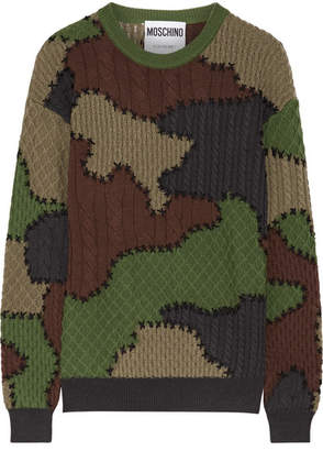 Moschino - Patchwork-intarsia Wool Sweater - Army green $950 thestylecure.com