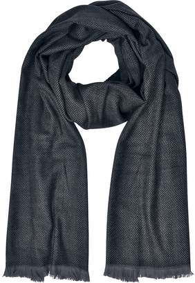 Marina D'Este Zigzag Stripe Cashmere, Silk and Wool Long Scarf w/Fringes