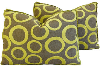 One Kings Lane Vintage Abstract Cut Velvet Circles Pillows - Pr