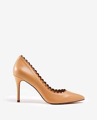 Ann Taylor Mila Scalloped Leather Pumps