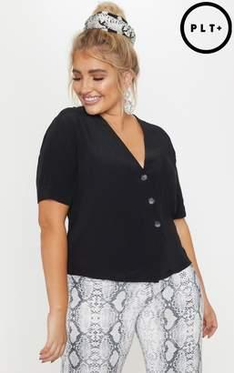 PrettyLittleThing Plus Black Button Detail Shirt