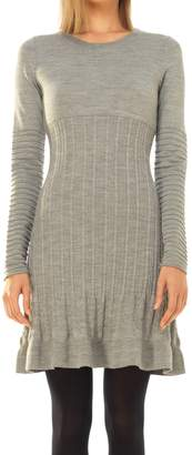 Max Studio Wool Crepe Knitted Long Sleeved Dress