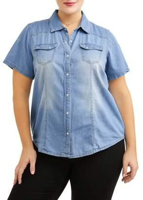 New Look Women's Plus Size Short Sleeve Button Up Denim Blouse