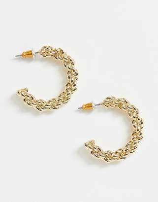 Asos Design DESIGN hoop earrings in twist rope design in gold