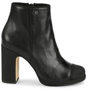 Karl Lagerfeld Paris Lainey Block-Heel Leather Booties