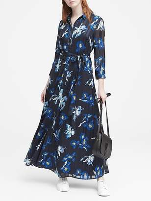 Banana Republic Petite Floral Maxi Shirt Dress