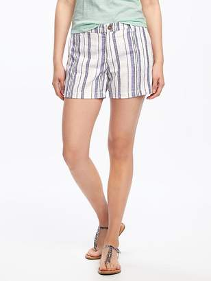 "Mid-Rise Striped Linen-Blend Shorts for Women (5"") $24.94 thestylecure.com"