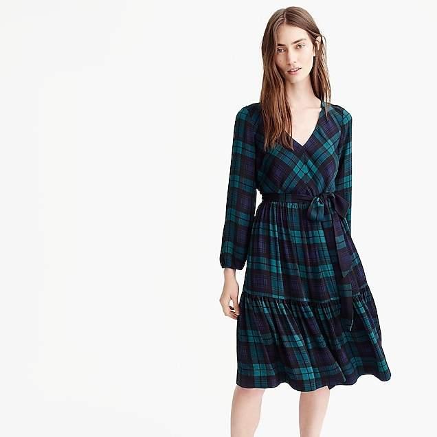 Drapey long-sleeve dress in Black Watch plaid