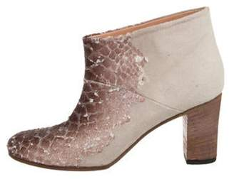 Maison Margiela Embossed Round-Toe Ankle Boots Beige Embossed Round-Toe Ankle Boots