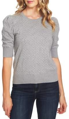 CeCe Puffed Sleeve Jacquard Sweater