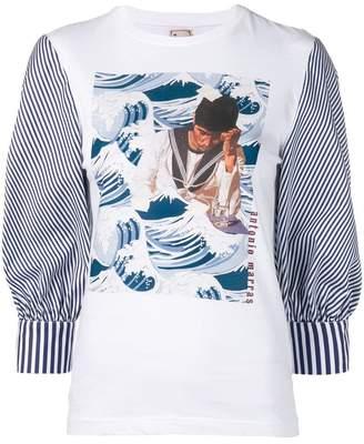 Antonio Marras sailor print stripe sleeve top