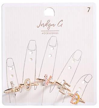 HBC JORDYN G 'LOVED' Letter Ring Set