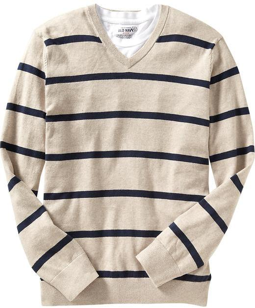 Old Navy Men's Striped Lightweight V-Neck Sweaters