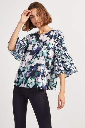 French Connenction Crepe Dreda Fluted Sleeve Top