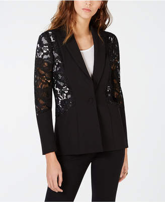 INC International Concepts I.n.c. Petite Mixed-Materials Lace One-Button Blazer