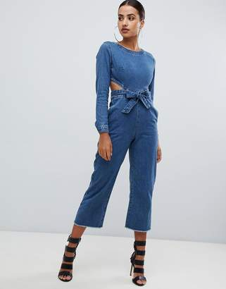Missguided cut out denim jumpsuit in blue
