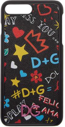 Dolce & Gabbana Black Graffiti Logo iPhone 8 Plus Case