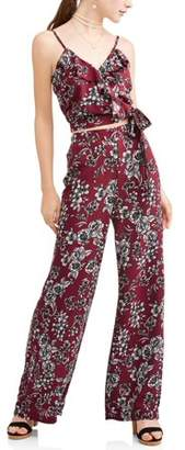 New Look Juniors' Floral Printed Ruffle Wrap Tank & Culottes Pant Set