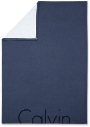 Calvin Klein Cropped Logo Throw - Indigo - 122 x 177cm