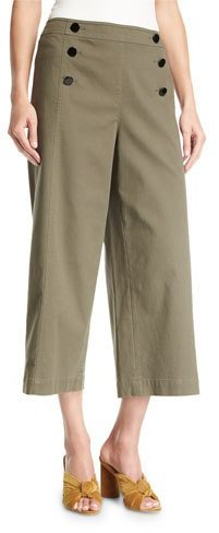 Kate Spade New York Cropped Wide-Leg Military Cotton Pants