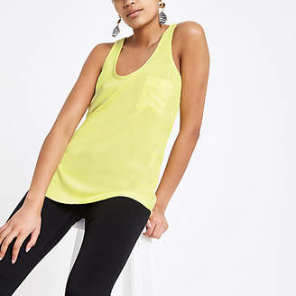 d37ce3984734e River Island Bright yellow chest pocket tank top
