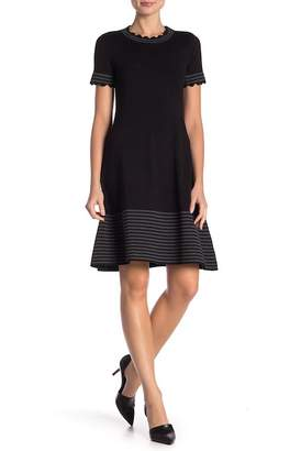 Vince Camuto Short Sleeve Scalloped Dress