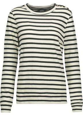 A.P.C. Striped Cotton-Crepe Sweater