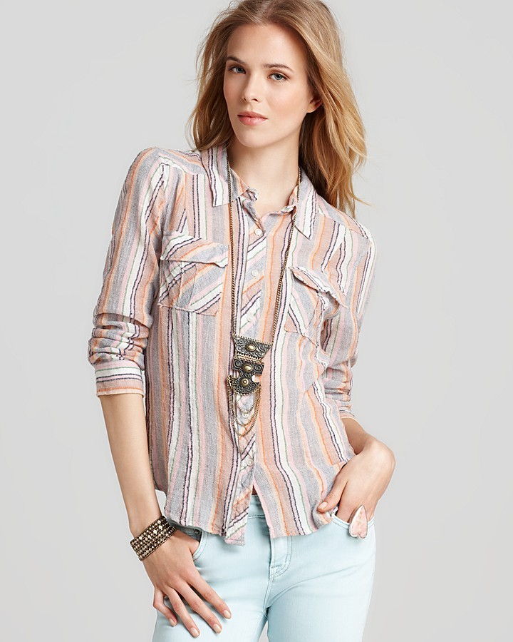 Free People Top - Striped Midwest Button Down