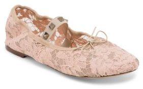 Valentino Rockstud Lace Ballet Flats $545 thestylecure.com