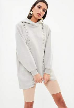 Missguided Gray Premium Eyelet Hooded Sweat Dress