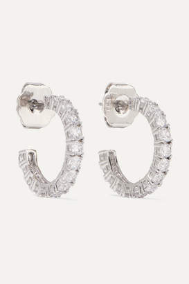Kenneth Jay Lane Rhodium-plated Cubic Zirconia Hoop Earrings - Silver