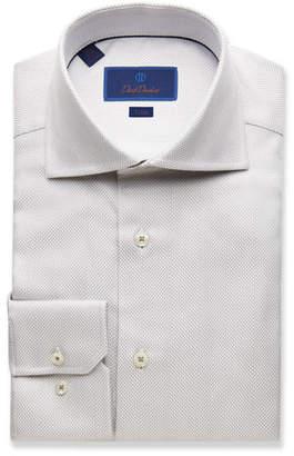 David Donahue Men's Trim-Fit Tonal Twill Dress Shirt
