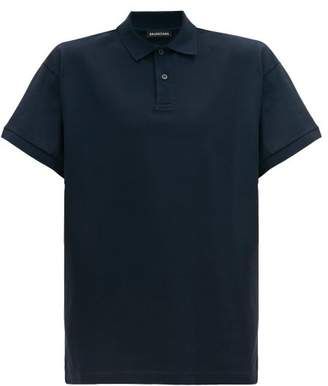 Balenciaga Logo Embroidered Cotton Pique Polo Shirt - Mens - Navy