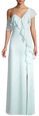 Parker Black V-Neck Annie Gown w/ Asymmetric Ruffles