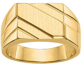 QVC 14K Gold Men's Satin Channel Ring