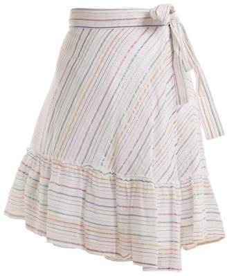 Apiece Apart Tamarind Cotton Blend Asymmetric Wrap Skirt - Womens - White Stripe