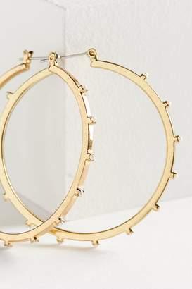 Luv Aj Bezel Pearl Hoop Earring