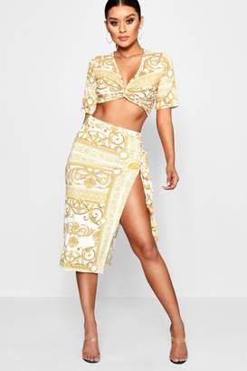 boohoo Slinky Chain Print Tie Side Midi Skirt