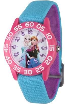 Disney Frozen Elsa and Anna Girls' Pink Plastic Time Teacher Watch, Reversible Blue and Purple Nylon Strap