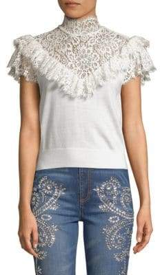 Alice + Olivia Beth Lace Highneck Top