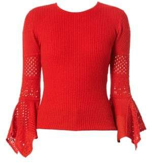 Carolina Herrera Mesh Knit Wool Sweater