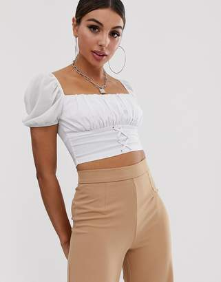 d002380acba Naanaa NaaNaa ruched milkmaid crop top with lace up front in white