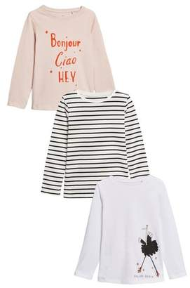 Next Girls Pink/Stripe Long Sleeve Tops Three Pack (3-16yrs)